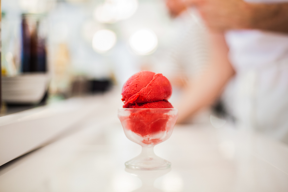 Raspberry Aperol flavored sorbet at NYC Food Find: Morgenstern's Finest Ice Cream | meltingbutter.com