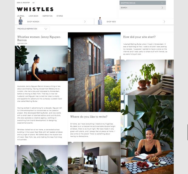 Whistles Women: Jenny Nguyen-Barron | Melting Butter