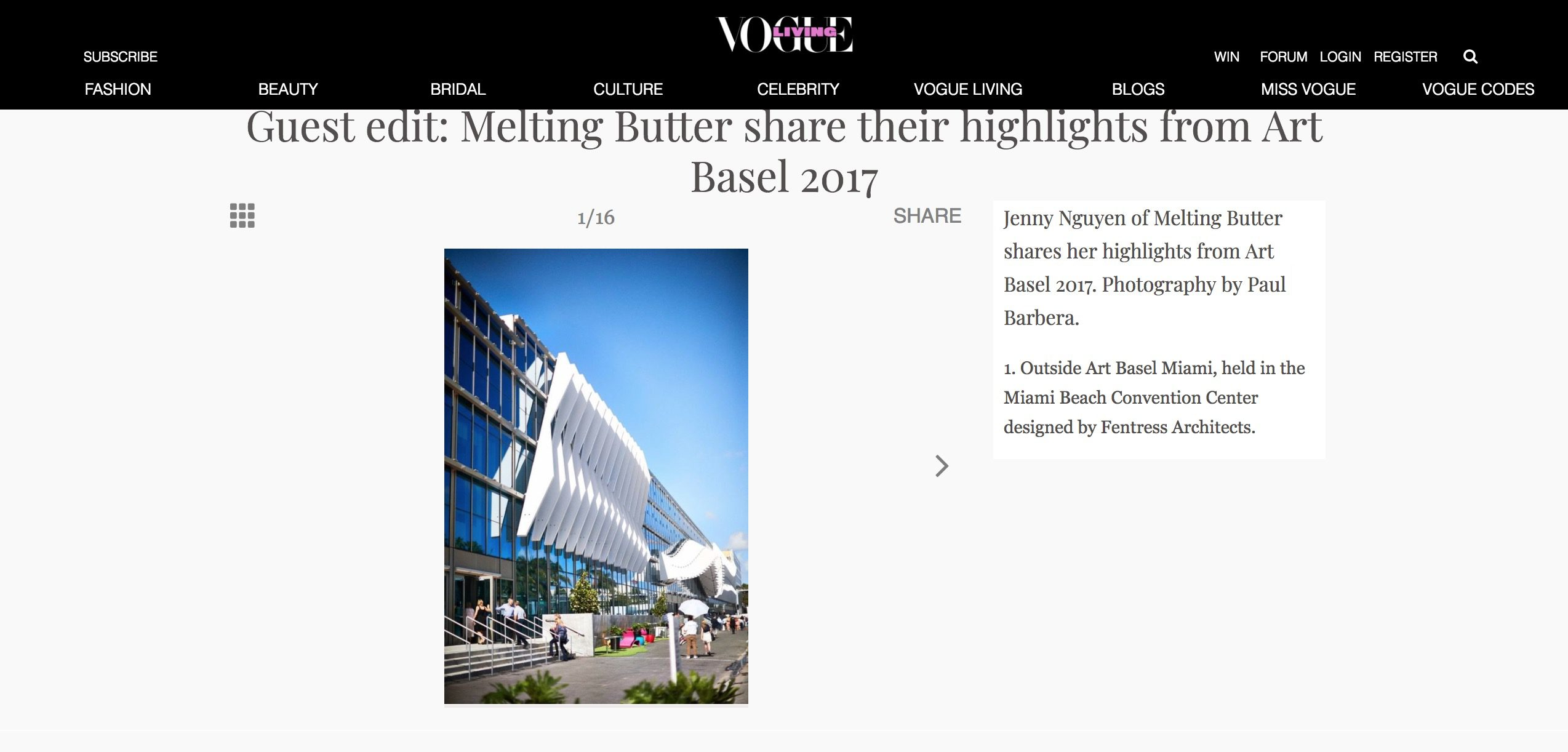 Melting Butter Covers December 2017 Vogue Living Art Basel Miami